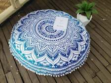 Indian Mandala Floor Pouf Pat Dog Beds Round Cushion Cover Ottoman Pillow Case
