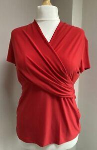 Ladies DKNY Ruched Faux Wrap Top Poppy Red Size XL (16-18) BNWT W3293CCA