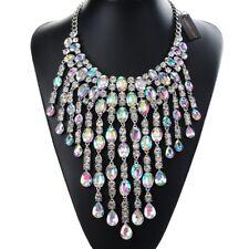 Fashion Gold Chain AB Iridescent Crystal Acrylic Statement Pendant Bib Necklace