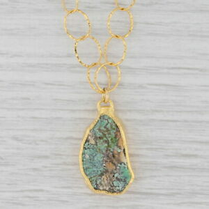 "New Nina Nguyen Turquoise Pendant Necklace Sterling 22k Gold Vermeil 19"""