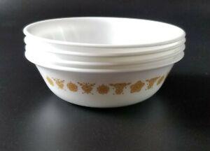 "Vintage Corelle Butterfly Gold Set of 4 Dessert Berry Fruit 5 3/8"" Bowls"