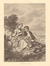Minuteman Of 1776, Romance, Partiotic, Vintage 1875 Antique Art Print