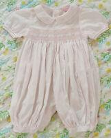 Petit Ami Smocked Dress Romper 9 mo Soft Pink Long Romper