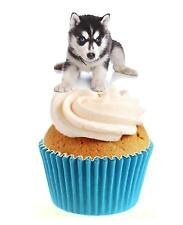 Novelty Cute Husky Puppy 12 Edible Stand Up wafer paper cake toppers dog
