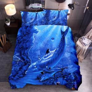 3D Blue Dolphin Duvet Cover Queen Marine Animal Comforter Cover PillowCase