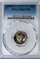1940-S Mercury Dime PCGS MS67+FB Superb Gem, Full Bands, Colorful Toning!