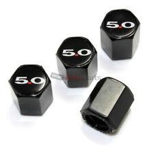 (4) Ford 5.0 Logo Black ABS Tire/Wheel Stem Air Valve Car Caps Covers