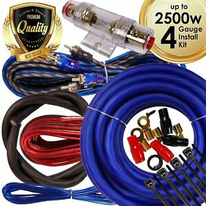 Complete 2500W 4 Gauge Car Amplifier Installation Wiring Kit Amp PK2 4Ga Blue