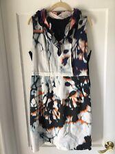 Elie Tahari NWT $398 Anthropologie Clover Silk Cotton Navy Dress Large L 14