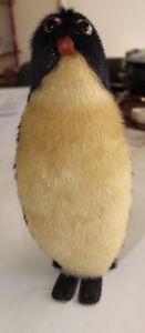 Vintage Real Fur Penguin Decoration Toy 20cm