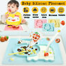 Baby Cute Silicone Placemat Plate Dish Food Tray Table Mat for Kids Toddler