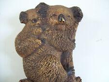 "Koala Bear With Young On Back Climbing Limb 9.5"" Tall wall hanging Home Deco."