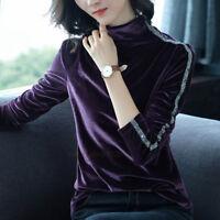 New Autumn Winter Women Velvet Mock Neck Long Sleeve Warm Basic Shirt Blouse Top