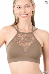Womens Bralette Crop Top Halter High Neck Lace Cutout Seamless Running Yoga Bra