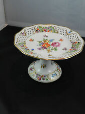 SCHUMANN Bavaria CHATEAU DRESDEN FLOWERS Reticulated Pedestal Plate Compote MINT