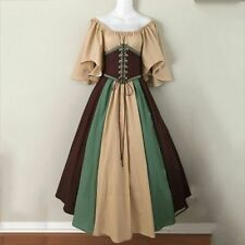 Women Medieval Cosplay Dress Vintage Gothic Patchwork Ruffle Sleeve Lace Costume