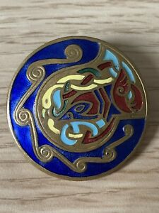 Old Vintage Cloisonné Style Round Circular Enamel Brooch Pin