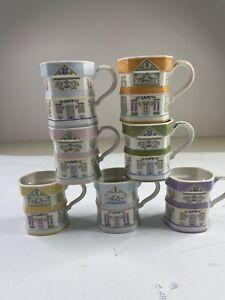7 Beautiful Lenox Village Porcelain Pastel Colors Coffee Mugs Vintage 1992 Set