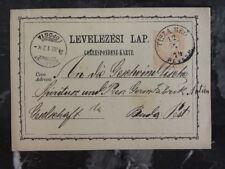 1874 Tisza Beu Hungary Postal Stationary cover To Budapest