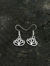 Handmade Silver Lotus Flower Earrings Hawaii Summer Lilo and Stitch Disney