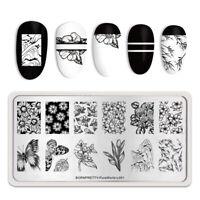 BORN PRETTY Rectangle Stamping Plates Flower Nail Art Design Pure World L001