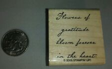 """""""Flowers Of Gratitude"""" Saying Single Stamp - Great Condition - Nla"""