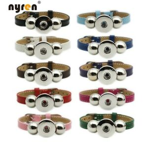 10pcs Multi Col Genuine Leather Snap Charms Bracelet Fit 18mm Snaps Snap Jewelry