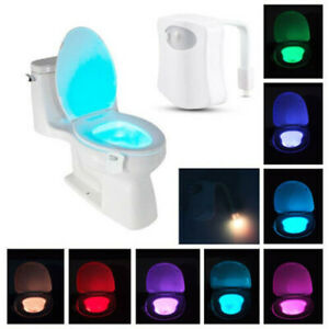8 Colors Toilet Bowl LED Night Light Motion Activated Seat Sensor Lamp Bathroom