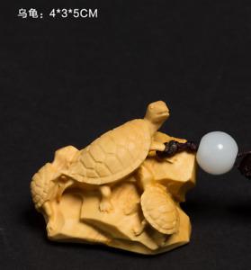 D059ca - 5X4X3 CM Carved Boxwood Carving Figurine Netsuke : Turtle