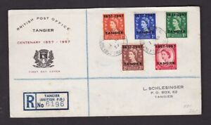Morocco Agencies Tangier 1957 Centenary ovpts ½-2½d (5) British PO Tangier FDC