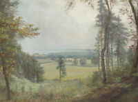 1895 Gouache - Landscape View with Cottage in the Distance
