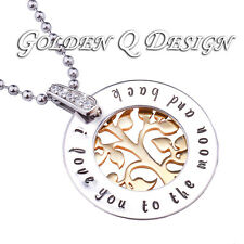 Stainless Steel Personalised Family Name Golden Tree Of Life Necklace D203