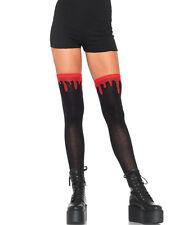 Dripping Blood Black Thigh High Socks Gothic Punk Costume Halloween Cosplay New