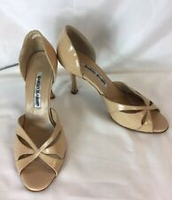 Manolo Blahnik Peep Toe,Cut Out,Tan,Patent Leather Pumps d'orsay shoes 37/ US 7