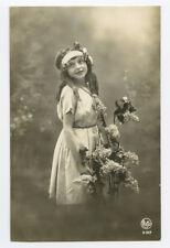 c 1920 Children Child CUTE CURLS GIRL photo postcard