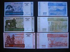 MADAGASCAR  100 + 200 + 500 Ariary 2004 (2016) New Signature  (Pnew)  UNC
