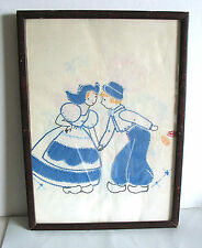Hand Made Embroidery Needlework DUTCH KISS Framed Under Glass 10.75x15 FREE SH