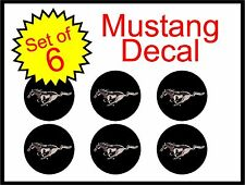 "Ford Mustang 2.25"" black 6pc Replacement Decal Sticker center cap hub wheel logo"