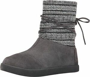 NEW Toms Nepal Castlerock Ankle Boots Youth Sz 12.5 Gray Woven/Suede Leather $69