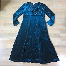 Coldwater Creek Teal Women's Velvet Velour Dress Long Modest Drape  Size 10
