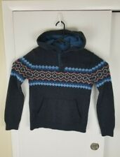 Abercrombie Fitch Kids Sweater Henley Hoodie Mosaic Design Boys Sz13/14 Navy