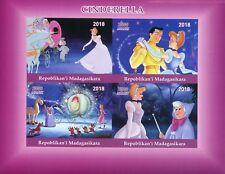 Madagascar 2018 estampillada sin montar o nunca montada Cenicienta 4v IMPF m/s Disney Dibujos Animados sellos