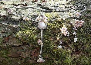 Necklace & Earring Set Mother of Pearl Metal Flowers Claw Set Diamonte Bridal