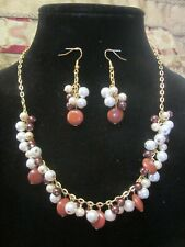 Chain Necklace and Earring Set Red Jasper, Pearls and Gold