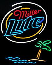 "Miller Lite Palm Tree Neon Light Sign 32""x24"" Lamp Poster Real Glass Beer Bar"
