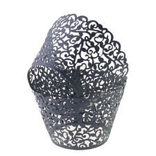 60x Filigree Paper Laser Cut Lace Cupcake Wrappers Liners Muffin Bake Cake Cups