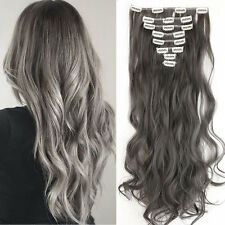 US 8Pcs Full Head Real Thick as human Hair Extensions Clip in on Curly dark grey