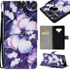 purple butterfly 3D wallet Leather case with strap for iphone Samsung Note 9 LG