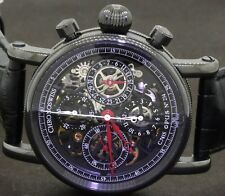 Chronoswiss Grande Opus CH7545 black SS chronograph skeleton watch-NEW w/b&p
