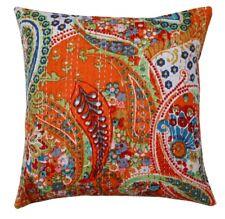 """16"""" Kantha Embroidered Cotton Paisley Cushion/Pillow/Sofa Throw Cover Orange"""